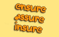 разница между ensure assure insure