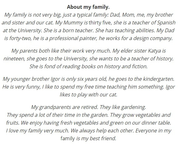 Рассказ о своей семье на английском
