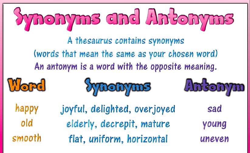 антонимы на английском