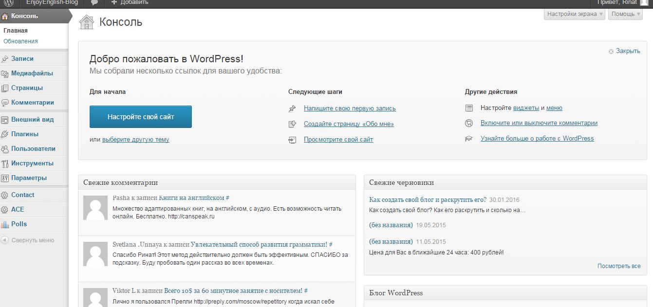 -панель-Wordpress Как создать свой блог в интернете и раскрутить его?