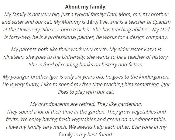 -о-своей-семье-на-английском Рассказ о своей семье на английском языке. Видео урок (Beginner)